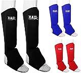 feet guard - RAD MMA Shin Instep Foam Pad Support Boxing Leg Guards Foot Protective Gear Kickboxing Black (Small)