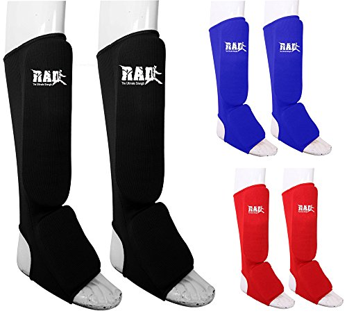 RAD Ultimate Strength RAD MMA Shin Instep Foam Pad Support Boxing Leg Guards Foot Protective Gear Kickboxing Blue (Small)