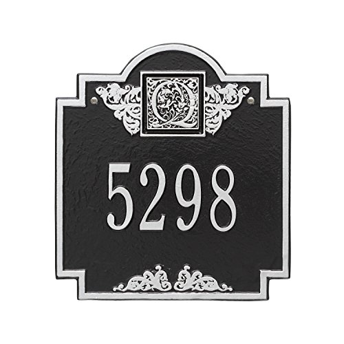 (Whitehall Products Monogram Standard Square Black/Silver Wall 1-Line Address Plaque)