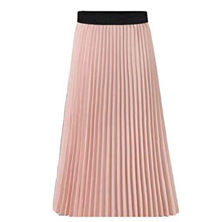 Faldas de Mujer Falda a Media Pierna con Pliegues de Cintura Alta ...