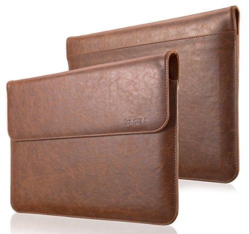 MacBook Pro 13 inch Sleeve Leather, Kuzy 13 inch Laptop Sleeve Case for MacBook Air 13 inch Sleeve (Newest Version) PU Leather Laptop Sleeve - Brown