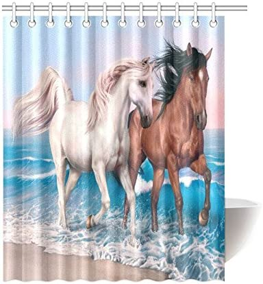 1 Pc Waterproof Horse-Running Shower Curtain for Home /& Bathroom