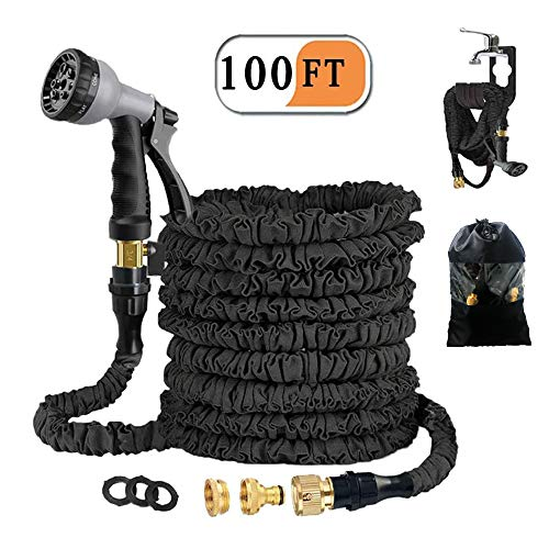 Avyvi Expandable Garden Hose 100 ft,30 m Retractable Hose Fittings 3/4 and 1/2 Inch Solid Brass Flexible Water Hose with…