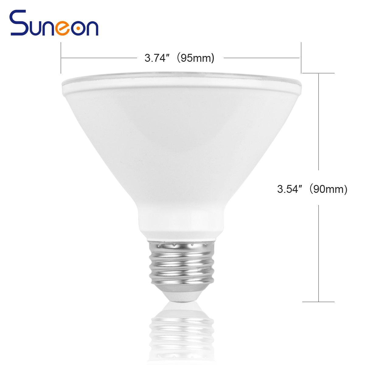 SUNEON LED Light Bulbs Par30 Short Neck LED Bulbs 75 Watt Equivalent Flood Light 11W 800Lumens 3000K Soft White Warm Color Dimmable Spot Light Bulb Track Lighting Recessed Light,Medium Base E26,4 Pack