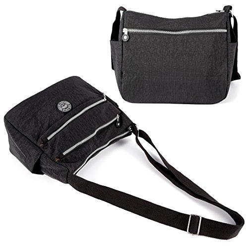 Anladia sportliche Damen Tasche Handtasche Stofftasche Schultertasche Nylon 28x22x10CM 3 Farbe Schwarz