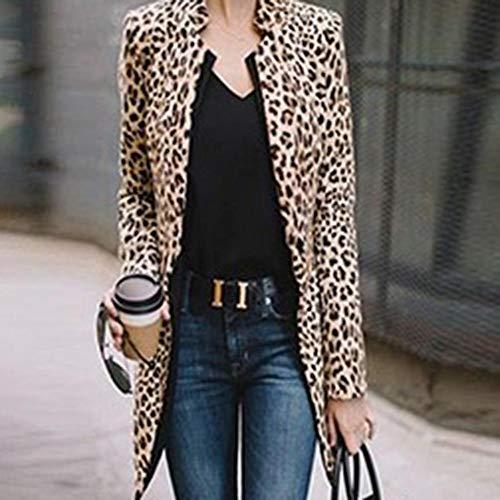 FANMURAN Chaqueta de Mangas largas para Mujer Blazer Stand Collar con  Estampado de Leopardo y Chaqueta ff5a3763418d