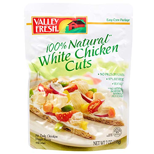 Valley Fresh 100% Natural White Chicken Cuts Pouch, 7 Ounce (Pack of 12) 100% Natural Chicken Breast