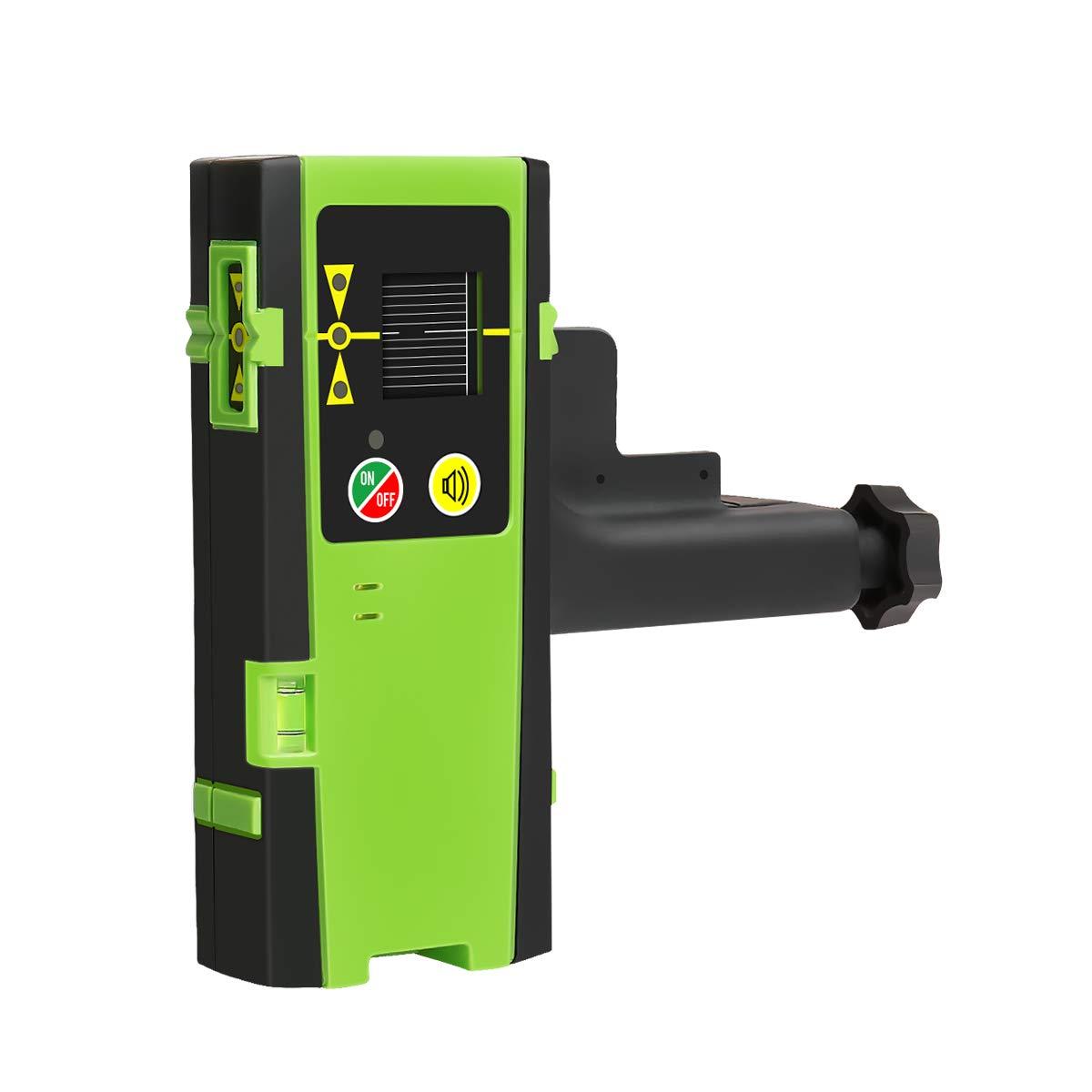 Detector lá ser para nivel lá ser de lí nea, receptor lá ser digital Huepar LR-6RG usado con lá ser de lí nea pulsante de hasta 60m, detecció n de rayos lá ser verde y rojo, pantallas LED de tres lado