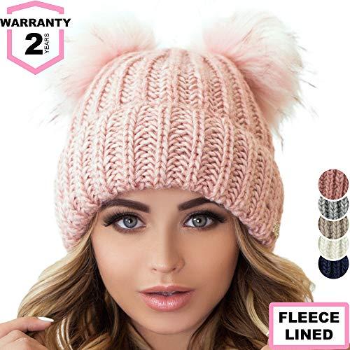 Braxton Beanie Women - 2 Pom Ears Cable Knit Winter Warm Fleece Hat - Wool Snow Outdoor Ski Cap
