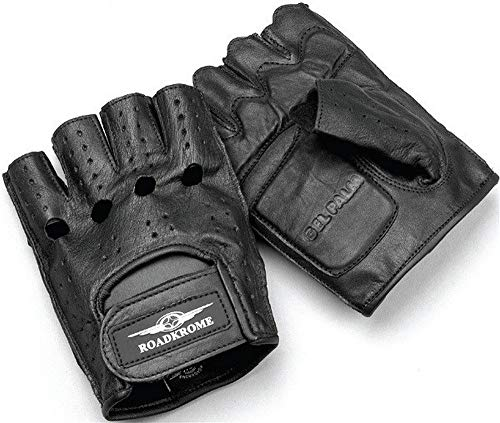 Roadkrome Chopper Men's Street Motorcycle Gloves - Black / 2X-Large