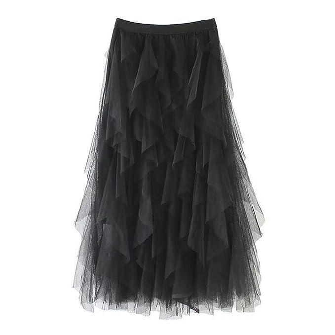 HCFKJ Faldas Mujer Cortas Casual para Mujer CóModa De Tul De ...