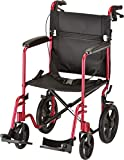 NOVA Medical Products 19'' Lightweight Transport Chair with 12'' Rear Wheels & Hand Brakes, Red