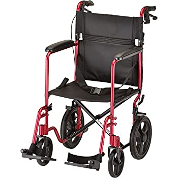 """Image of Health and Household NOVA Lightweight Transport Chair with Locking Hand Brakes, 12"""" Rear Wheels, Full Length Padded Armrests, Red"""