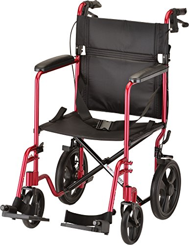 NOVA Medical Products 19'' Lightweight Transport Chair with 12'' Rear Wheels & Hand Brakes, Red by NOVA Medical Products