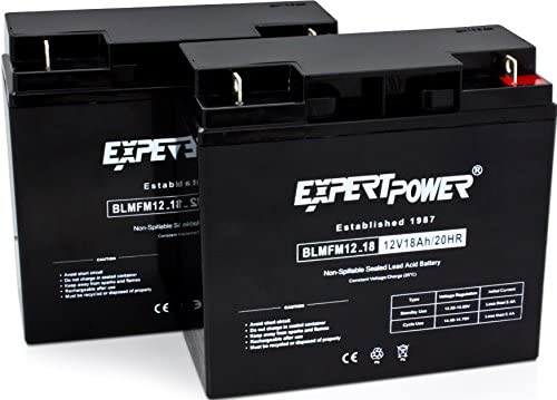 ExpertPower 12 Volt 18 Ah Rechargeable Battery With Nuts & Bolts Included    EXP12180