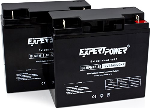 ExpertPower EXP12180-2 Standard  RBC7 Replacement Rechargeable SLA Battery (Reuse Existing Connectors, 12 Volt 18 Ah), 2 Pack