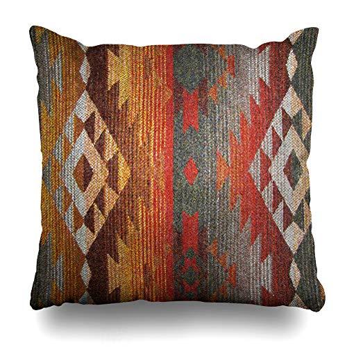 Ahawoso Throw Pillow Cover Pillowcase Western Navajo Orange Grey Southwest Decorative Pillow Case Home Decor 18x18 Square Size Cushion Case