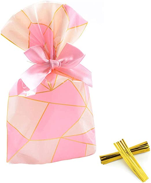 6 x GOLD CHRISTMAS Gift Bag Block Bottom Clear Cello Sweet Treat Bag WITH TIES