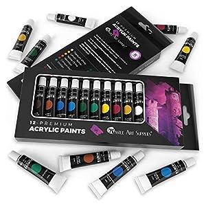Juego-de-pintura-acrlica-de-12-piezas-para-principiantes-estudiantes-o-artistas-y-nbsp-Perfecta-mezcla-de-colores-de-calidad-versatilidad-y-flexibilidad-Bueno-sobre-papel-lienzo-madera-y-tela