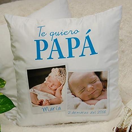 Calledelregalo Regalo Personalizable para Padres: cojín Te Quiero papá Personalizado con 2 Fotos (Cojín te Quiero papá)