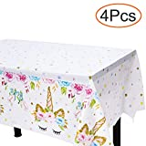 Unicorn Plastic Tablecloth - 4 Pack - Bigger Size - 51' x 86' Disposable Table Cover - Unicorn Themed Birthday Party Supplies for Girls, Boys & Baby Shower