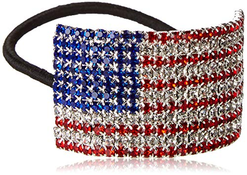 Patriotic USA Flag Ponytail Holder by Crystal Avenue | Stretchy Elastic Hair Tie | Silvertone with Sparkling Crystals