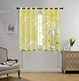 iPrint Stylish Window Curtains,Kids,Summertime Colors and Cute Toy Bunny with Flower Basket Cartoon Drawing Style,Yellow Teal White,2 Panel Set Window Drapes,for Living Room Bedroom Kitchen Cafe