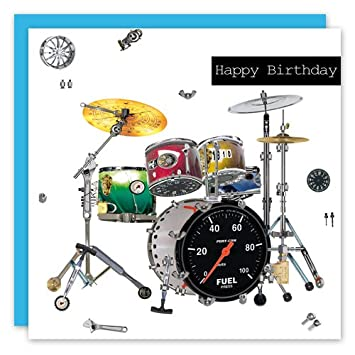 Happy Birthday Drums Greeting Card Scrap Collection By Real