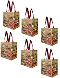 Earthwise Reusable Grocery Shopping Bags Extremely Durable Multi Use Large Stylish Fun Foldable Water-Resistant Totes Design - Farmers Market (Pack of 6)