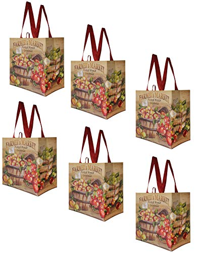 (Earthwise Reusable Grocery Shopping Bags Extremely Durable Multi Use Large Stylish Fun Foldable Water-Resistant Totes Design - Farmers Market (Pack of 6))