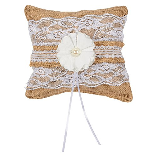 Juvale Ring Bearer Pillow – Wedding Ring Cushion, Engagement Ring Pillow – Vintage Burlap Pillow with Jute Ribbon, Lace Trim, Flower - 7.75 x 7.75 x 3.5 Inches - Custom Wedding Flower Girl Basket