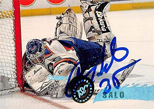 - Tommy Salo autographed Hockey Card (New York Islanders, SC) 1996 Topps Stadium Club #211 - Hockey Slabbed Autographed Cards