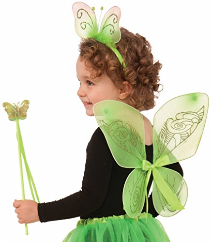 [Forum Child Fairy Set with Wings/Wand/Headband (3 Piece), Green] (Dress Up Fairy Wings)