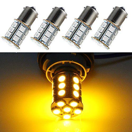 Joneaz 1156 LED Bulb Yellow for Turn Signal Lights,12V,4 Piece, 24 SMD 5050