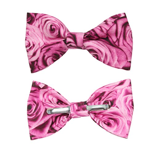 Boys Pink Rose Floral Clip On Cotton Bow Tie Bowtie - Made in USA