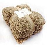 New Large 130 x 180cms Teddy Soft Cuddly Fluffy Caramel / Latte Plain Throw Bed / Sofa Throwover Blanket