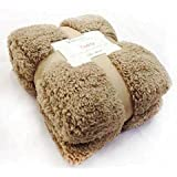 New Large 130 x 180cms Teddy Soft Cuddly Fluffy Caramel / Latte Plain Throw Bed / Sofa Throwover Blanket by Velosso