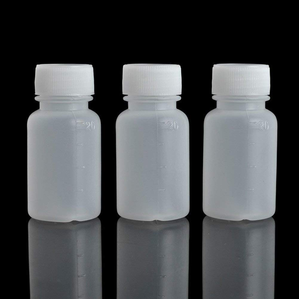 GDGY 100Pcs 20ML 0.7OZ PE Plastic Empty Small Mouth Graduated Lab Chemical Container Reagent Bottle (20Ml100 Pcs) by GDGY