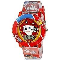 El reloj digital de Paw Patrol para niños con estuche rojo, cómoda y roja correa, fácil de abrochar - Personaje oficial de Paw Patrol en 3D, seguro para niños - Modelo: PAW4016