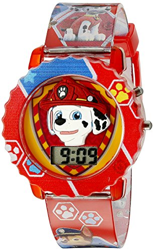 (Paw Patrol Kids' Digital Watch with Red Case, Comfortable Red Strap, Easy to Buckle - Official 3D Paw Patrol Character on the Dial, Safe for Children - Model:)