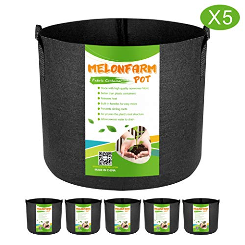MELONFARM 5-Pack 5 Gallon Plant Grow Bags – Smart Thickened Non-Woven Aeration Fabric Pots Container with Strap Handles for Garden and Planting
