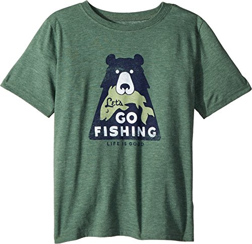Life is Good Boys Cool Tee Let's Go Fishing, Forest Green, Large