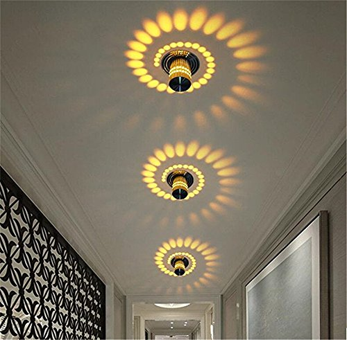 OWIKAR Spiral LED Wall Light, 3W Dimmable LED Wall Sconce Hi-Brightness Light Fixture Aluminum Sconce Ceiling Light Aisle Bedroom Vestibule Foyer Cafe Corridor Decoration Light (Warm White) by OWIKAR (Image #2)