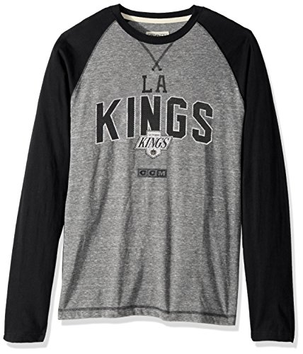 adidas NHL Los Angeles Kings Mens CCM L/S Crewccm L/s Crew, Medium Grey Heathered, XX-Large