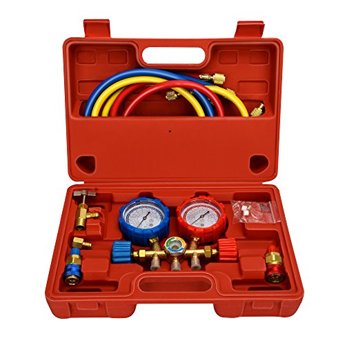 - Mofeez Pro AC A/C Diagnostic Manifold Freon Gauge Set For R134A R12 R22 Refrigerants, with Couplers and ACME Adapter
