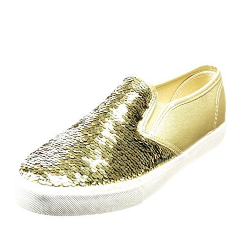 5 Femininos Calcanhar Ouro Angkorly Brilhante Sapatos Plana on Sapatilha Slip Centímetros 2 Brilho De EHqCv