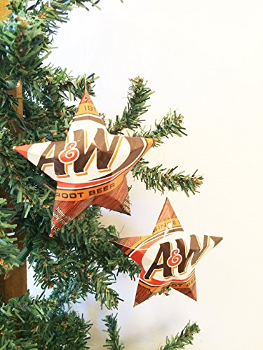 - A&W Root Beer Soda Can Stars, Recycled Aluminum Pop Can Stars, Upcycled Christmas Ornaments