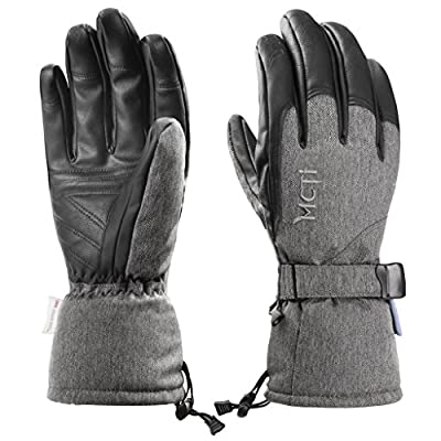 MCTi Ski Gloves,Winter Waterproof Snowboard Snow Warm 3M Thinsulate PU Leather Cold Weather Gloves for Mens Womens