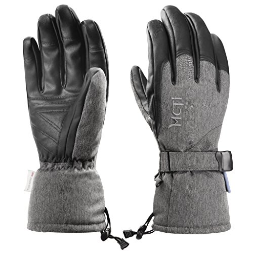 MCTi Ski Gloves Winter Waterproof Snowboard Snow Warm 3M Thinsulate PU Leather Cold Weather Gloves for Mens Womens Grey Medium