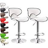WOLTU ABSX1002whi Contemporary White Bar Stools Adjustable Synthetic Leather Seat and Back Swivel Hydraulic upholstered Kitchen Stools Chairs Metal Frame,Set of 2